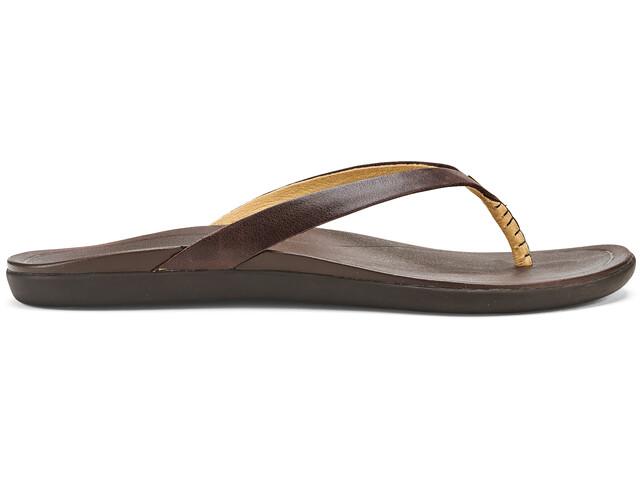OluKai Ho'opio Leather Sandals Dame dark java/dark java